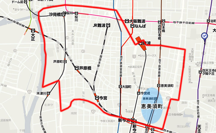 恵美須町の地図