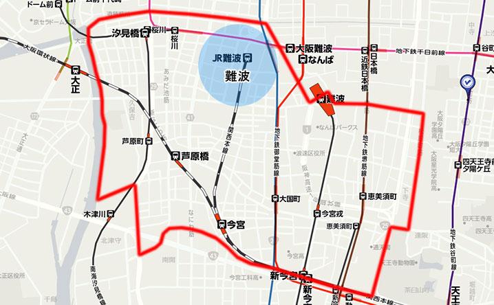 JR難波駅周辺の地図