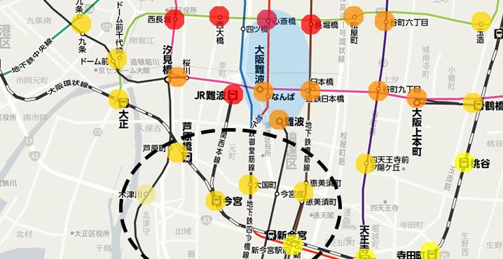 南側(大国町、恵美須町など)の家賃相場